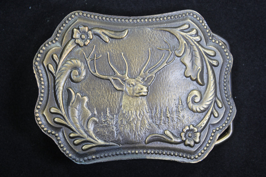 Proud Elk with Floral Pattern Solid Brass Belt Buckle