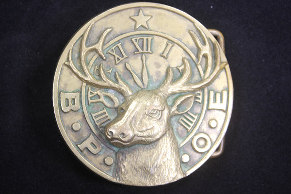 Benevolent and Protective Order of Elks (Elks Club) Solid Brass Belt Buckle, by Baron, 1978