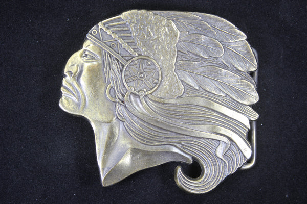 Native American Indian in Profile Solid Brass Belt Buckle