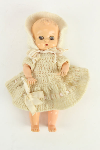 Plastic Baby Vintage Doll with Knit Dress and Hood, 7.5""