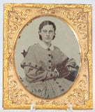 Ambrotype Photograph of a Young Woman in a Checkered Dress