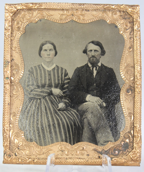 Framed Tintype Photograph of a Couple with a Woman in a Striped Dress