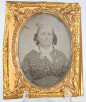 Ambrotype Photograph of an Older Woman with a Floral Bonnet