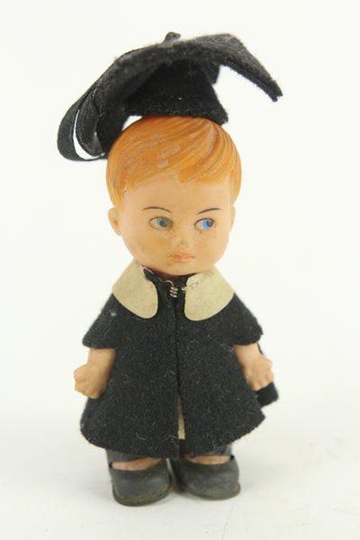 Mini Rubber Graduation Boy Doll, Made in Hong Kong, 4""