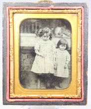 Load image into Gallery viewer, Ambrotype Photograph of Young Siblings Holding Hands in Case