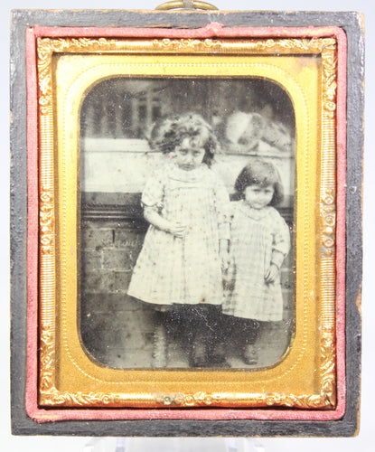 Ambrotype Photograph of Young Siblings Holding Hands in Case