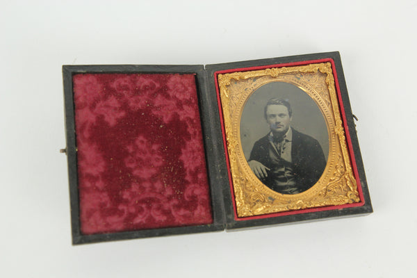 Ambrotype Photograph of a Handsome Young Man in Full Intact Case