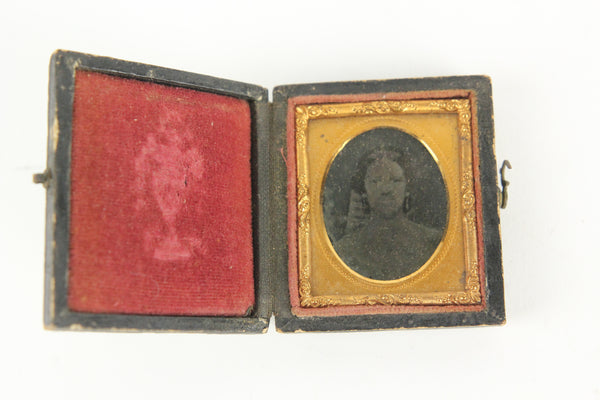 Ambrotype Photograph of A Pretty Young Woman in a Full Intact Case