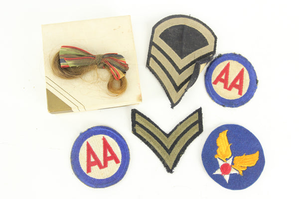 Six Piece World War II Patch Lot with a Lock of the Soldier's Sweetheart's Hair