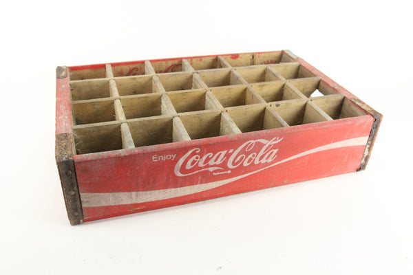 Enjoy Coca Cola 24 Bottle White Lettering on Red Vintage Wooden Crate
