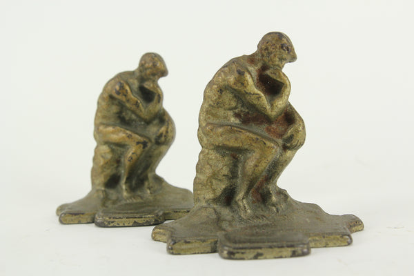 "Auguste Rodin's ""The Thinker"" Gold Painted Cast Iron Bookends, Pair"