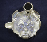 Solid Brass Bulldog Smoking a Pipe Cigar Rest Ashtray