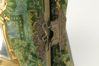 Victorian Liberty Bell Mirrored Green Fabric Covered Cabinet Card Photo Album