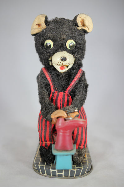Shoe Making Bear Battery Operated Mechanical Toy