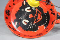 Halloween Black Cat Noisemaker Tin-Lithograph Toy by Kirchhof of Newark, NJ