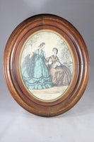 """Le Bon Ton"" French Fashion Print Lithograph in Wood Oval Frame"