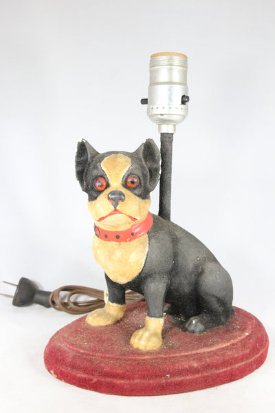 Boston Terrier Plaster Dog Lamp