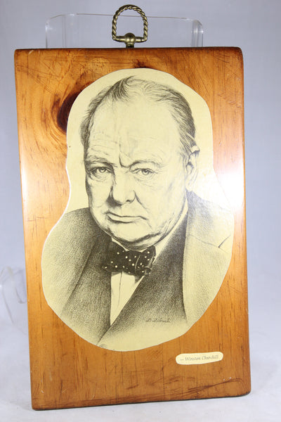 Winston Churchill Newspaper Clipping on Wood Decoupage
