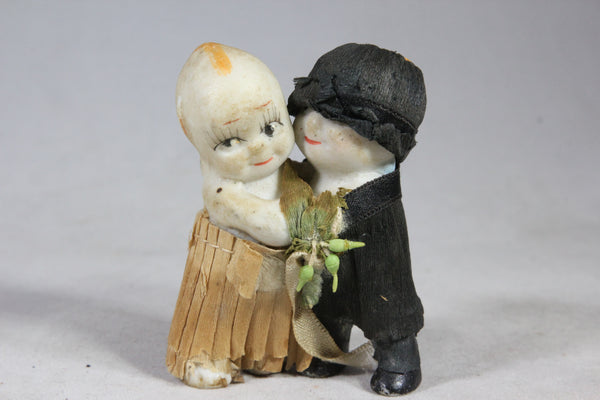 Bride and Groom Bisque Kewpie Dolls with Clothes, 2.5""