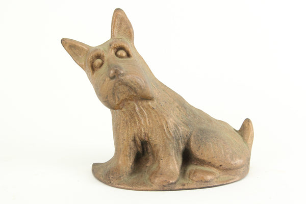 Gold Painted Cast Iron Scottie Dog Bookend Doorstop
