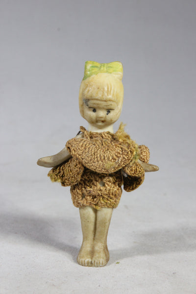 Blonde Bisque Doll with Bow with Clothes, Made in Japan, 3""
