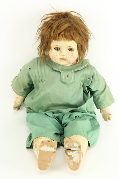 Antique Acme Toy Co. Composition Baby Doll with Green Clothes, 24""