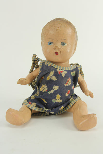 Small Size Composition Baby Doll with Blue Eyes and a Blue Onesie, 9""