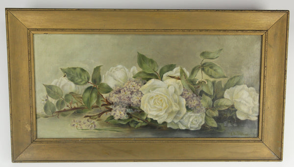 Oil on Canvas Painting of White Roses, Signed E.W. Tredway - 22.5 x 12.5""