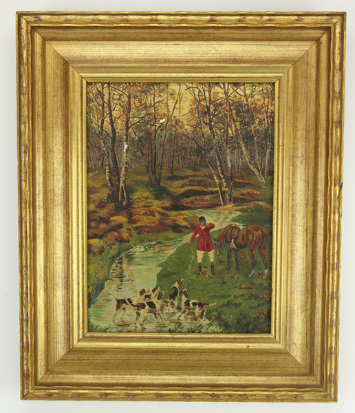 Oil on Canvas Painting of Beagles in the Forest, Signed Marshall - 14.5 x 17.5""