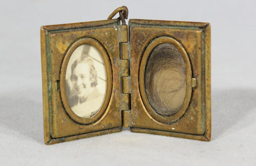 Brass Mourning Locket with Human Hair