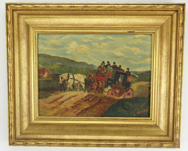 Oil on Canvas Painting of a Horse Drawn Carriage, Signed Marshall - 17.5 x 14.5""