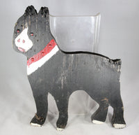 Antique Folk Art Boston Terrier Dog Hand-Painted Wooden Lawn Ornament