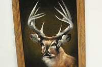 Framed Velvet Painting of a Stag Buck Deer, Made in Mexico - 14 x 22.5""
