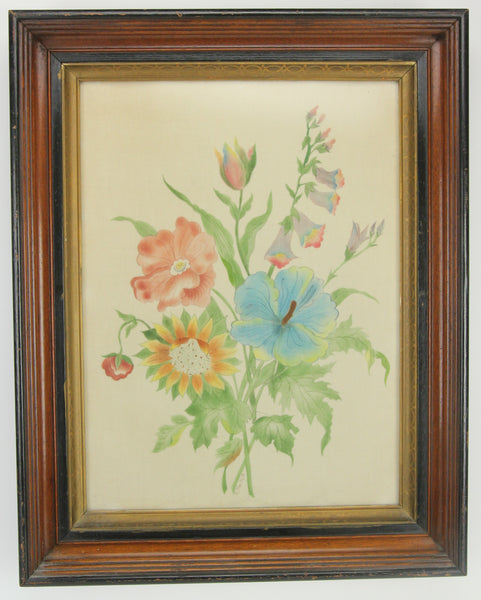 Vintage Framed Fabric Painting of Colorful Flowers, Signed E. MacNutt - 17 x 21""