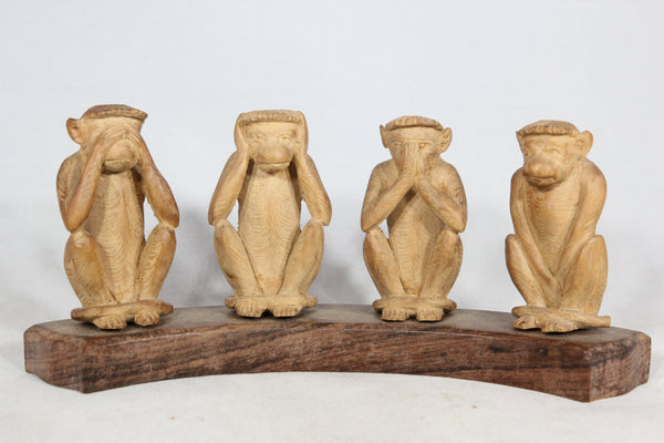 """See No Evil, Hear No Evil, Speak No Evil, Fuck No Evil"" Carved Wooden Monkey Statue"
