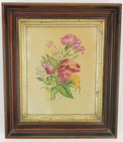 Vintage Framed Fabric Painting of Purple Flowers, Signed E. MacNutt - 11.5 x 14""
