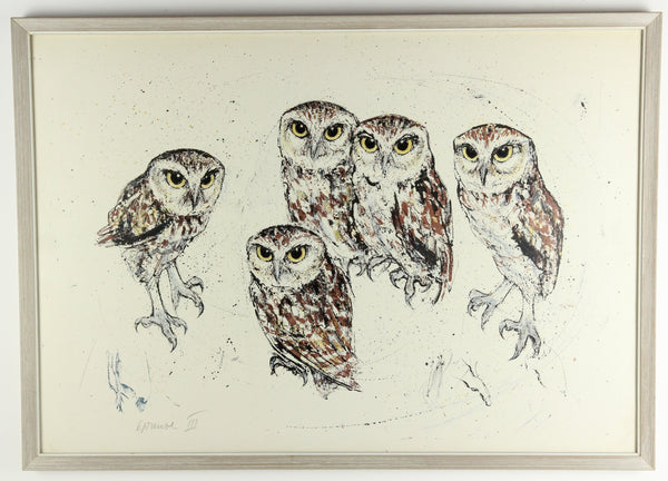 Mid-Century Framed Print of Five Owls, Signed by the Artist - 31 x 22""