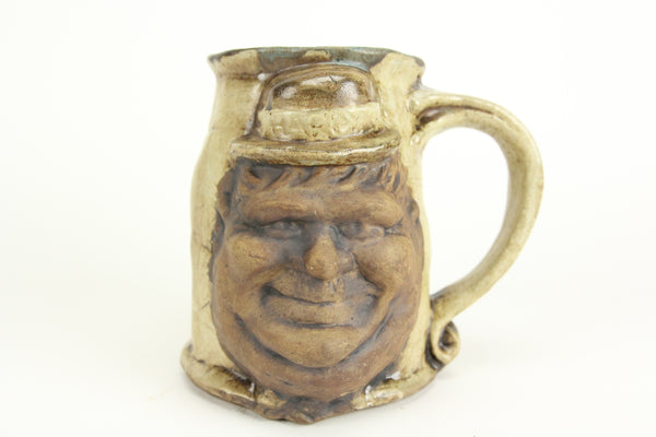 Jim Rumph Laurel and Hardy Two-Faced Tankard Ceramic Pottery Mug, 1971