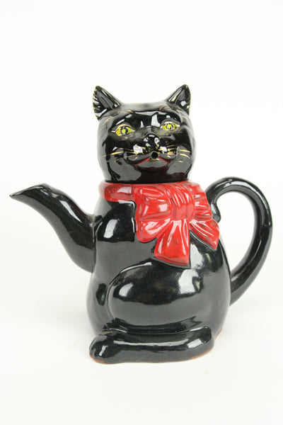 Black Cat with Red Bow Redware Ceramic Pottery Tea Pot, Japan