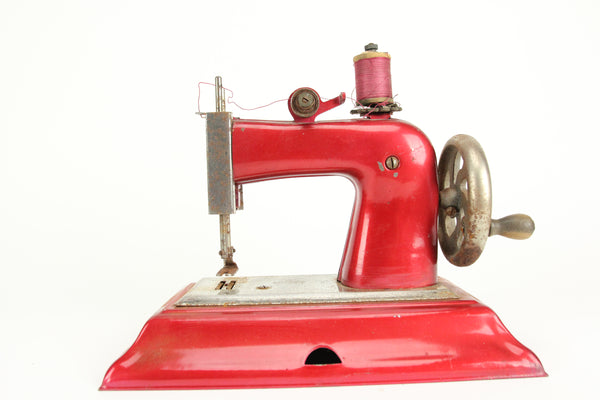 1940s Post-WWII Casige Red Tin Toy Sewing Machine, Made in Germany, British Zone