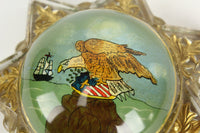 7-Point Star Glass Paperweight with Reverse Painted Bald Eagle & US Shield