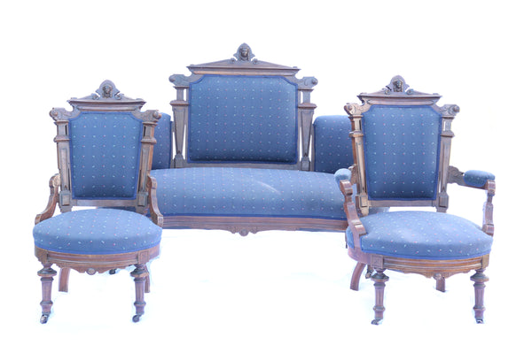 Antique Victorian Eastlake Parlor Set with Sofa and Two Chairs with Carved Lady Heads