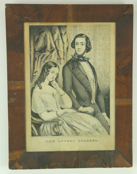 "Framed ""The Lovers Quarrel"" Colored Currier & Ives Lithograph, 1846 - 13 x 17"""