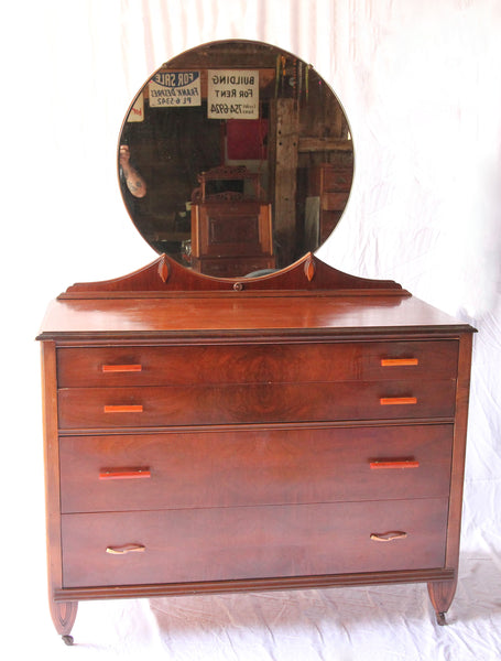 Art Deco Four Drawer Low-Chest Dresser with Mirror and Bakelite Pulls