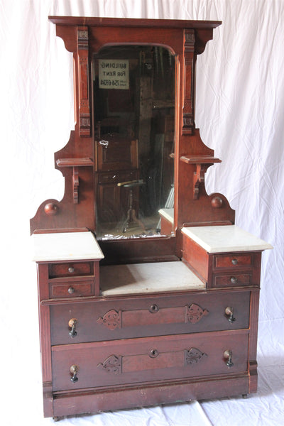 Victorian Marble-Top Drop-Well Dresser with Mirror and Key