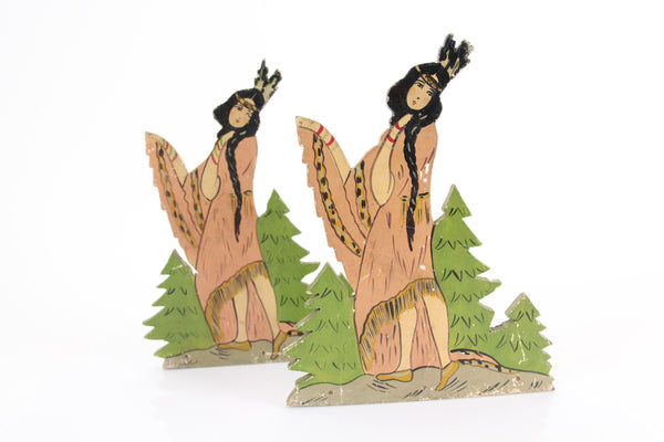 Hand Painted Wooden Native American Indian Maiden Folk Art Bookends, Pair