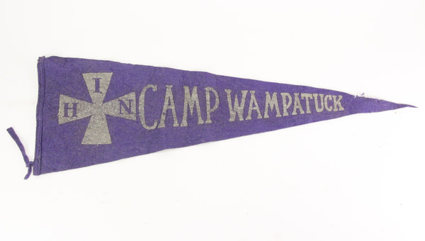Camp Wampatuck, South Hanson, Massachusetts Vintage Felt Pennant - 28""