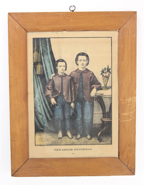"Framed Kellogg Brothers Lithograph Print ""The Little Brothers"" - 13.5 x 17.5"""