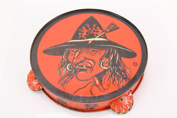 Vintage Halloween Witch Dancing Devils Hat Tin Lithograph Tambourine by T. Cohn