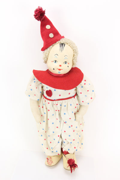 Vintage Cloth and Leather Clown Doll by Krueger, NY, Made in the USA, 19""
